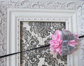 Light Pink Ruffled Flower with Silver Sequin Flower Super Skinny Headband