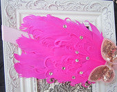 Hot Pink With Tiny Rhinestones and Light Pink Sequing Nargorie Headband