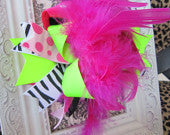 OTT Hot Pink, Zebra and Lime Green Boutique Bow
