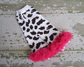 Cow Print Legwarmers with Hot Pink Ruffles