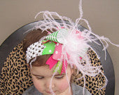 Ultimate Green and Pink Striped and Polka Dot Bow