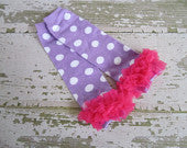 Lavender with White Polka Dots Legwarmers with Hot Pink Ruffles