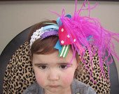 OTT Turquoise, Purple, Hot Pink and Lime Green Bow with Hot Pink Feathers