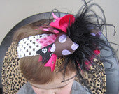 OTT Brown with Lavender Polka Dots, Hot Pink, Cheetah and Hearts Bow with Black Feathers