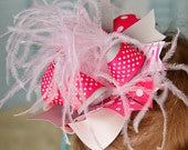 OTT So Sweet Hot Pink, Light Pink, White and Gray Mixed Zebra Bow