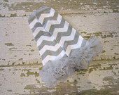 Gray and White Chevron Legwarmers with Gray Ruffles