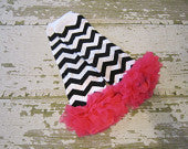 Black and White Chevron Legwarmers with Hot Pink Ruffles