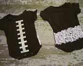 Football Onesie with White Ruffles on Back
