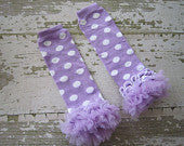 Lavender with White Polka Dot Legwarmers with Lavender Ruffles