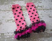 Pink and Black Polka Dot Legwarmers with Hot Pink and Black Ruffles