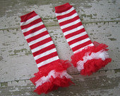Red and White Striped Legwarmers with Red and White Ruffles