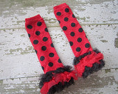 Ladybug Legwarmers with Black and Red Ruffles