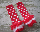 Red and White Polka Dot Legwarmers with Red and White Ruffles