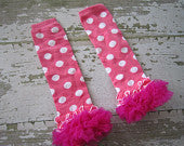 Pink with White Polka Dot Legwarrmers with Hot Pink Ruffles