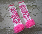 White with Hot Pink Damask Print Legwarmers with Hot Pink Ruffles