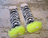 Black and White Zebra Legwarmers with Bright Yellow Ruffles