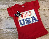 Go USA Girls Shirt with Bow