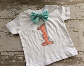 Birthday Shirt with Bowtie - Orange, Gray and Turquoise