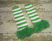 Green and White Striped Legwarmers with Green Ruffles