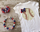 Chicago Cubs Shirt, Necklace and Hairbow Set
