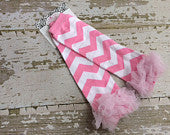 Light Pink and White Chevron Legwarmers with Light Pink Ruffles