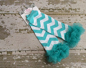 Aqua and White Chevron Legwarmers with Aqua Ruffles