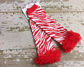 Red and White Zebra Legwarmers with Red Ruffles