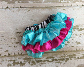 Zebra Turquoise and Hot Pink Satin Bloomers