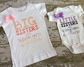 Big Sisters are Sugar and Spice, Little Sisters are Everything Nice Shirts with Bow