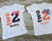 Two 2 Shirt with Name and Bow