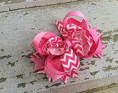 Hot Pink Chevron OTT Bow