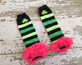 St. Patrick's Day Legwarmers with Hot Pink Ruffles