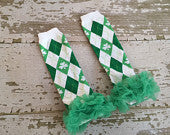 St. Patrick's Day Argyle Legwarmers with Green Ruffles