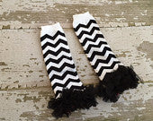 Black and White Chevron Legwarmers with Black Ruffles