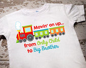 Personalized Moving on Up from Only Child to Big Brother Shirt