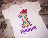 Personalized Age and Name Shirt with Bow