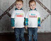 Here Comes Trouble.....More Trouble Twin Shirt Set