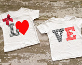 LOVE Twin Boy/Girl Shirt Set
