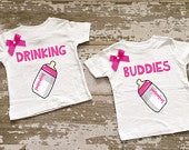 Drinking Buddies Twin Girls Shirt Set with Bows