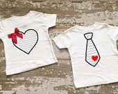 Heart and Tie Twin Boy/Girl Shirt Set