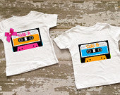 Cassette Tape Twin Boy/Girl Shirt Set