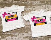 Cassette Tape Twin Girls Shirt Set with Bows