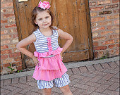 Mylania Jane Pink and Gray Ruffled Shorts Outfit
