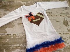 Football Heart Chicago Bears/Denver Broncos/University of Illinois Tunic