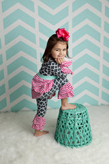Mylania Jane Hot Pink, Aqua and Gray Pant and Tunic Outfit