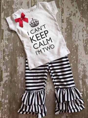 I Can't Keep Calm I'm Two Shirt with Bow and Black and White Striped Ruffled Pants Set
