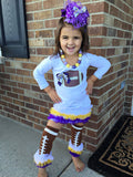 Minnesota Vikings Football Tunic, Legwarmers, Necklace and Hairbow Set