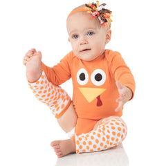 Girl Turkey Onesie, Legwarmers and Headband Set