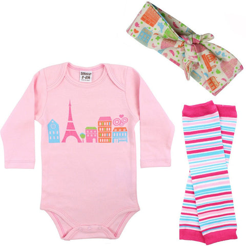 Love Paris Onesie, Legwarmers and Bow Headband Set