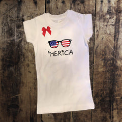 'Merica 4th of July Shirt with Bow